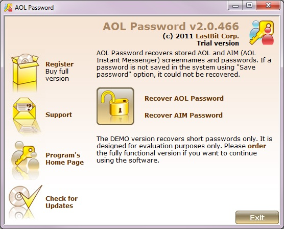 Password recovery tool for AOL (AIM).
