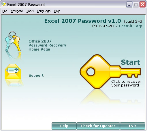 Excel 2007 Password screenshot