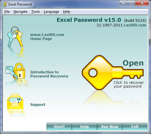Utility to recover Microsoft Excel spreadsheet passwords. The Guaranteed Recovery technology unlocks a file within a minute regardless of the password length. All versions of Excel and password types are supported.