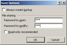 Excel password recovery article - password to open screen