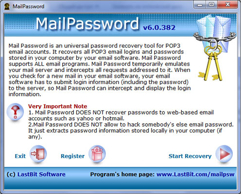 Click to view LastBit Mail Password Recovery 6.0.382 screenshot