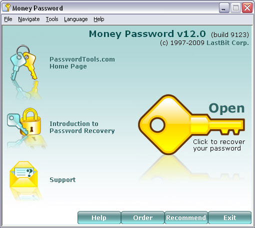 Password recovery tool for MS Money and MoneyPlus database. Screen Shot