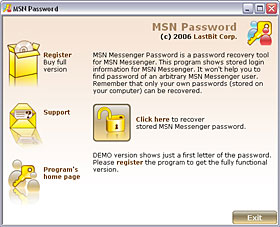 Click to view LastBit MSN Messenger Password Recovery 1.5.305 screenshot