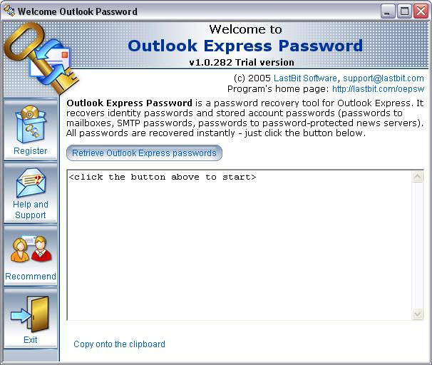 Password recovery tool for Outlook Express