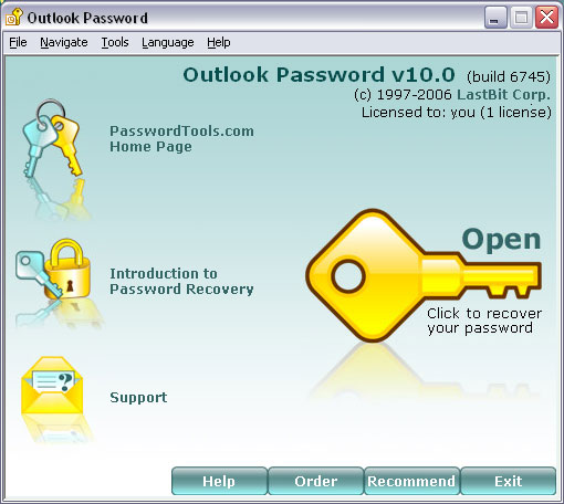 Outlook Password: password recovery for MS Outlook - all versions - *.pst files.