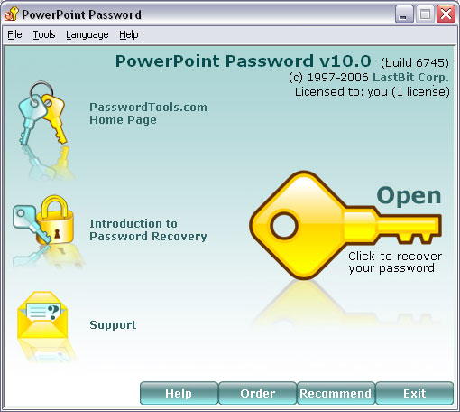 PowerPoint Password: password recovery tool.