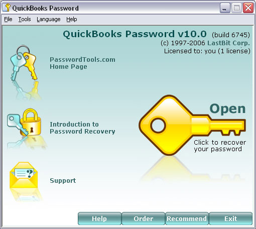 Click to view LastBit QuickBooks Password Recovery 11.0.7828 screenshot