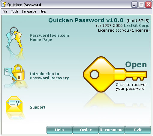 Password recovery tool for Quicken files.