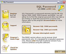 Lastbit SQL Password Recovery Screen shot