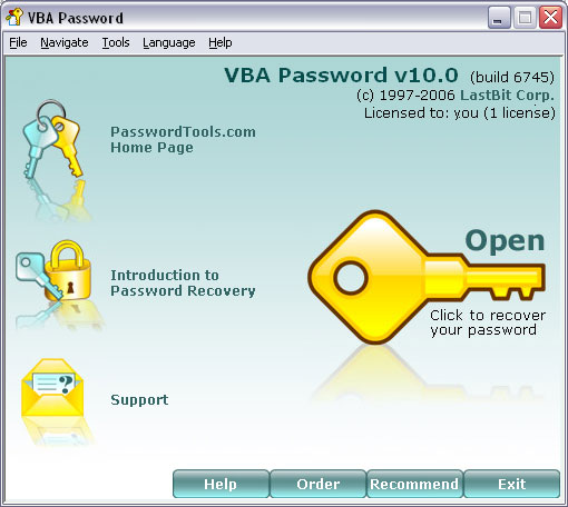 Universal utility to recover lost or forgotten passwords to VBA modules. The program has two recovery engines: one is for Word, Excel and MS Access files, another one allows recovering access to password-protected VBA projects in any application.