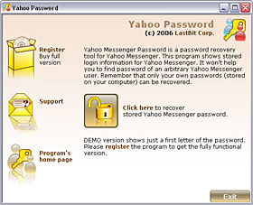 Click to view LastBit Yahoo Messenger Password Recovery 2.0.370 screenshot