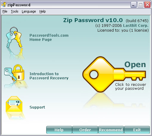 LastBit Zip Password Recovery screen shot